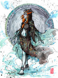 Midna Ink and watercolor by MyCKs