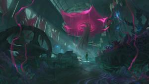 lovecraftian greenhouse interior by thatnickid