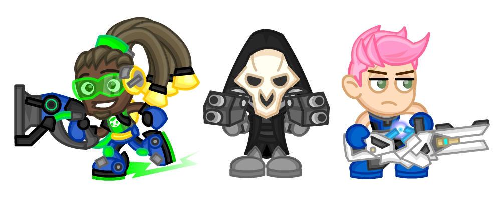 Overwatch Chibis:  Lucio, Reaper, and Zarya by LegendaryFrog