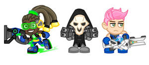 Overwatch Chibis:  Lucio, Reaper, and Zarya by LegendaryFrog