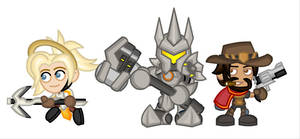 Overwatch Chibis: Mercy, Reinhardt, McCree by LegendaryFrog