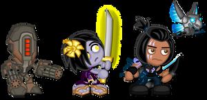 KI Chibis: Kilgore, Shin Hisako, Eagle by LegendaryFrog