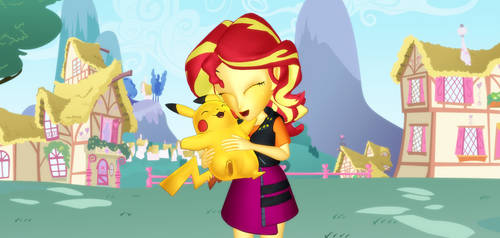 Sunset Shimmer Day Cuddle With A Pikachu by Mario-McFly