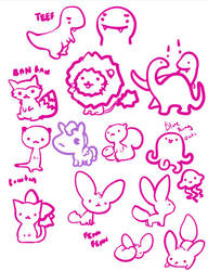 animal doodles by zambicandy
