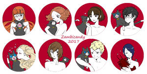Persona 5 button set by zambicandy