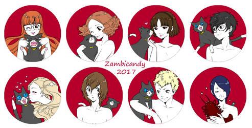 Persona 5 button set by zambicandy