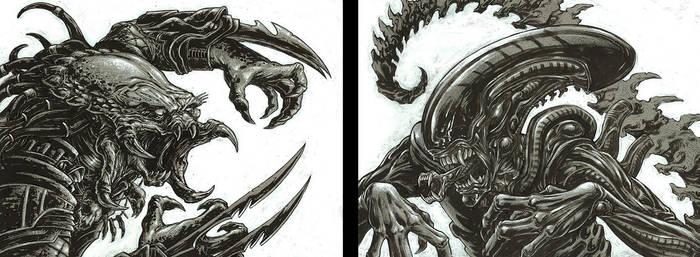 Alien VS Predator Face Off by CalebMProchnow