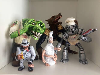2000AD Sculpey model collection by scowlingmonkey