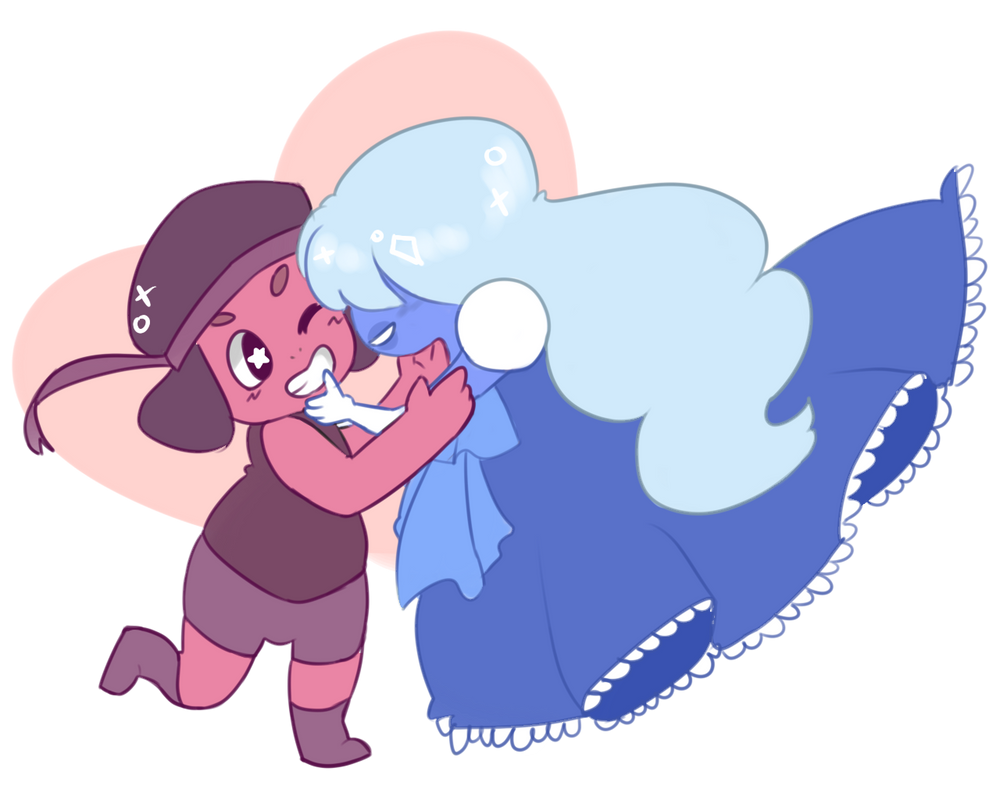 BECAUSE LOVE WINS & THESE TWO ARE DEF MY FAV MUMS <3 Ruby & Sapphire © Rebecca Sugar Fan art © Lattealove