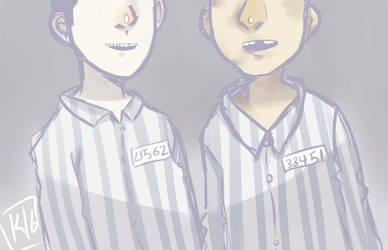 Doodle boy in striped pajamas by kurodo-j