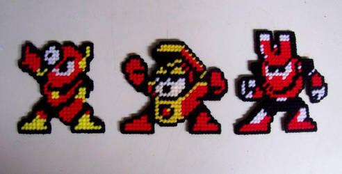 Mega Man yarn sprites 4 by Raggletag