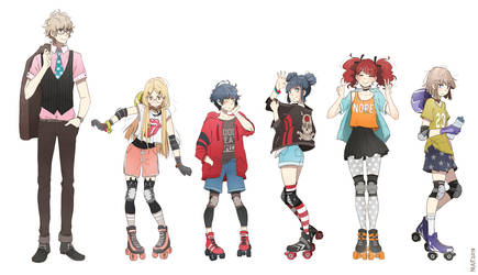 Roller derby girls: characters by nuuti