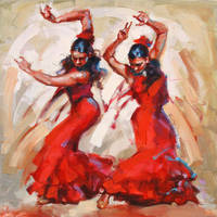 FLAMENCO DANCERS by renatadomagalska