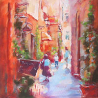 LITTLE STREET in the painting by renatadomagalska