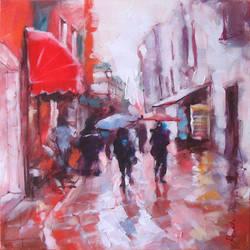RAINING STREET in the painting by renatadomagalska