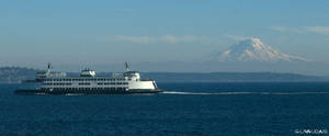 MT Rainier and Ferry by Kicks02