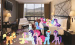 Mane 6 (mare and colt) and Trixie in a hotel by KayMan13