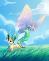 Leafeon and Venomoth by Culurrien