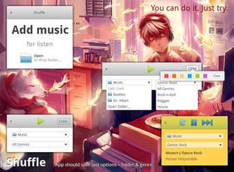 elementary OS Shuffle app mockup, version 3 by 13iangel