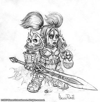 Female Gnome Death Knight by GlennRaneArt