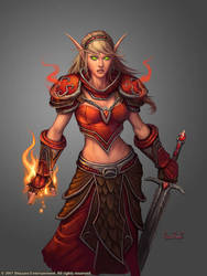 Female Blood Elf Mage by GlennRaneArt