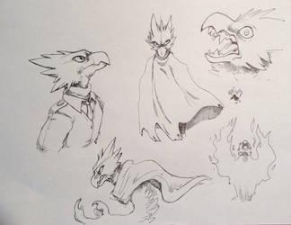 Tokoyami Fumikage Sketch Sheet by kjets97