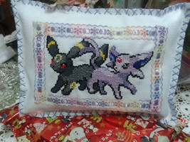 Espeon and Umbreon pillow by kwakbyeol