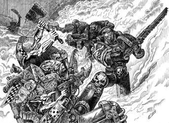 Warhammer 40k Orks VS marines by Skirill
