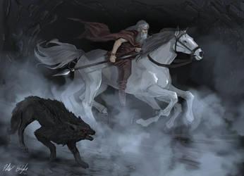 Odin rides Sleipnir to Hel by PeterPrime