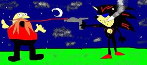 Shadow vs eggman by chasethehedgehog