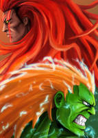 Street Fighter V: Blanka and Necalli by AveryMoneco