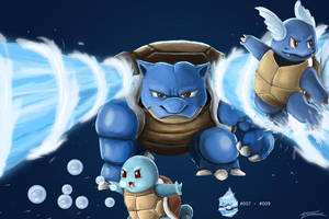 Squirtle Wartortle and Blastoise by AveryMoneco
