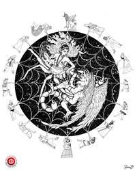 Arachna Solara Vs Wakboth the Devil by MikePerryArt
