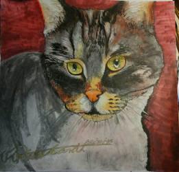 Mixed Media Cat by Deep6Howl