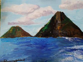 Twin Islands in acrylic by Deep6Howl