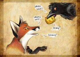 Fox and Raven by Culpeo-Fox