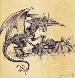the Dragon who annoyed the Fox by Culpeo-Fox