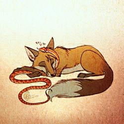 Fox And Corn Snake by Culpeo-Fox