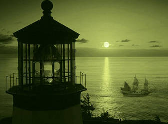 Sunset At The Lighthouse by VisualPoetress