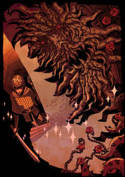 sir gawain vs green knight by AnnaWieszczyk