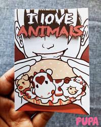 Sticker - I love animals by Pupaveg