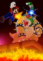 Mario and Luigi VS Lord Bowser by karuma9