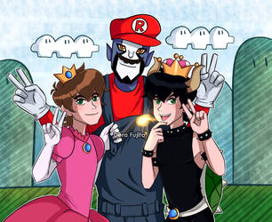 Peach, Mario and Bowsette? by Dera8059