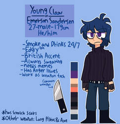 Reference sheet - Young Claw/Emerson by Neemon99