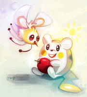 Cutiefly and Togedemaru by CaramelFrog
