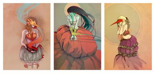the priestesses' triptych by Derrewyn