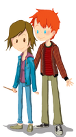 Ron and Hermione by zimmybluke