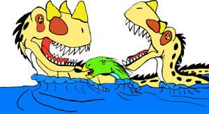All Yesterday's work: Swimming Ambushed by DinoBirdMan