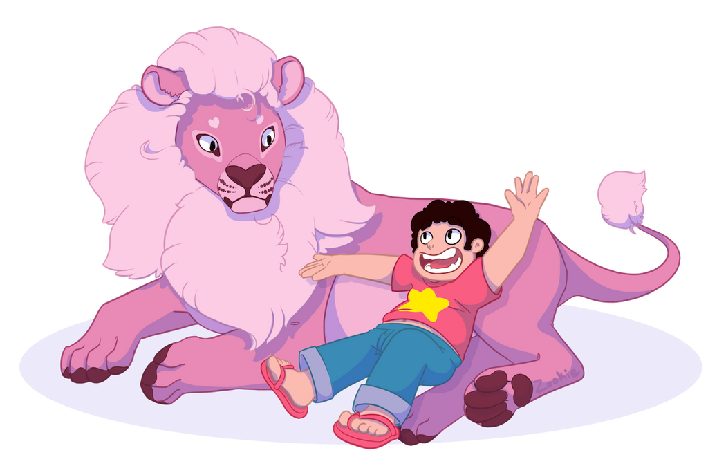 Steven telling his lion about some of the wacky adventures he's been on Man I wish I had a giant pink lion to talk to