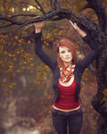 Standing under curved tree branch by pnn32